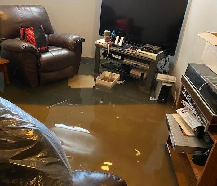 Basement with television and furniture with standing water