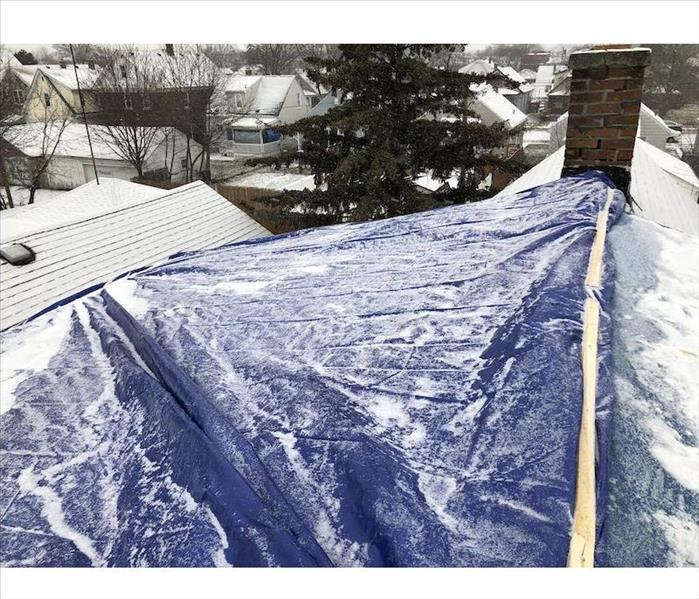 Roof with a tarp covering
