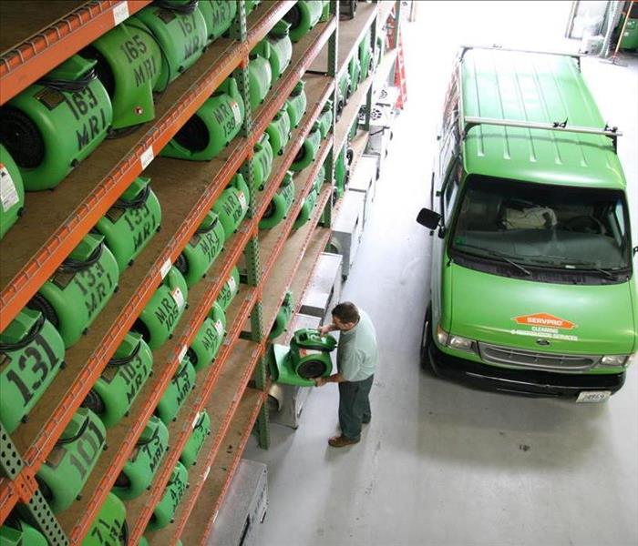SERVPRO warehouse with drying equipment
