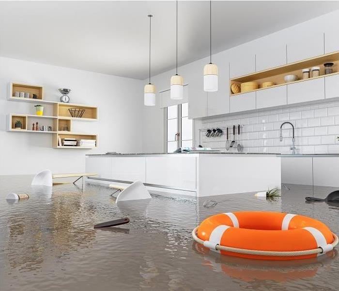 Kitchen becoming submerged in water because leaking appliances and pipes under sink